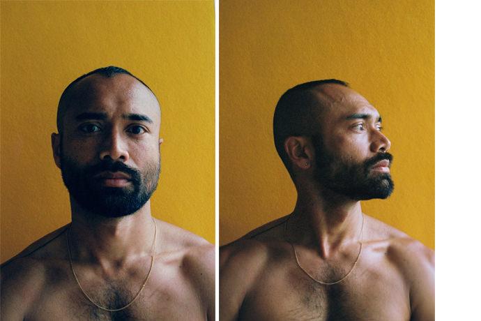 Imtiaz Ashraf mini - Portraits at home by James Barnett, a series against yellow黄色背景的艺术